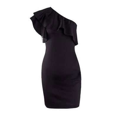 Autumn sexy ruffles black women short dress One shoulder white bodycon dress Sleeveless party vestidos winter dress - CelebritystyleFashion.com.au online clothing shop australia