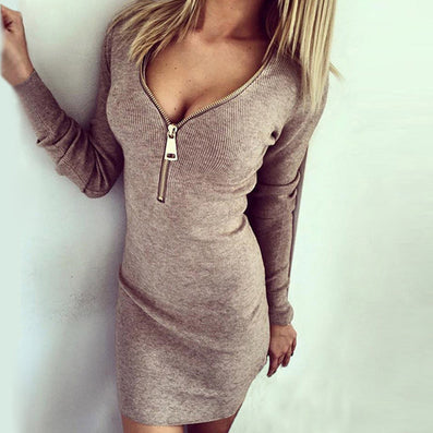 Women Dress Long Sleeve V-neck Dress Sexy Stretch Bodycon Dresses Fashion Sring Autumn Style One Piece Casual Clothing NQ272 - CelebritystyleFashion.com.au online clothing shop australia