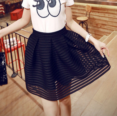 Summer New Style Sexy Fashion Skirt Womens Striped Hollow-out Fluffy Long Skirt Swing Skirts Ladies Black/White Ball Gown - CelebritystyleFashion.com.au online clothing shop australia