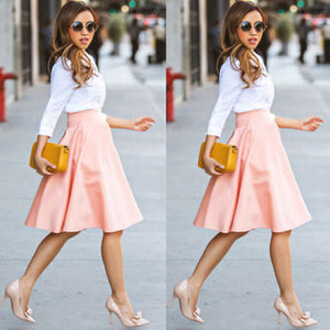 Womens Summer High Waisted Skater Full Circle Pleated A-Line Ladies Midi Skirt - CelebritystyleFashion.com.au online clothing shop australia
