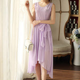 Bohemia Style Women's Asymmetric Sleeveless long Dresses Casual Maxi Dress Vestidos Femininos For Elegant Women longo D56204 - CelebritystyleFashion.com.au online clothing shop australia