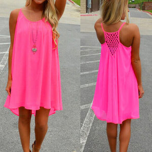 Women beach dress Fluorescence summer dress chiffon female women dress summer style vestido plus size women clothing - CelebritystyleFashion.com.au online clothing shop australia