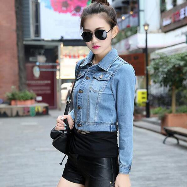 blue / SAutumn Spring Long Sleeve Women Denim Jacket Frayed Jeans Jacket Women Oversized Jean Coat Plus Size Girls Outwear BN901