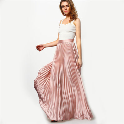 Spring Womens Fashion Designer Elegant Ladies Elastic Waist Pleated Beach Maxi Skirt - CelebritystyleFashion.com.au online clothing shop australia