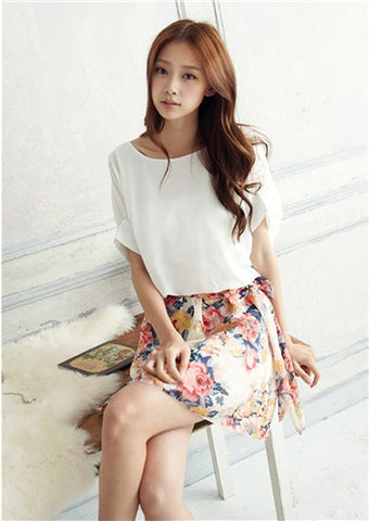HOT Free Shipping 2015 New Fashion Summer printing Batwing Sleeve Chiffon Woman's Dress - CelebritystyleFashion.com.au online clothing shop australia