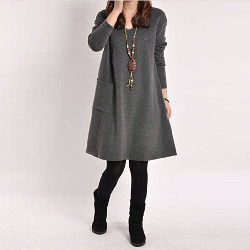 DarkGray / XL5 Color Autumn Women Long Sleeve Pockets Dress Ladies Casual Loose Solid V Neck Dresses Plus Size