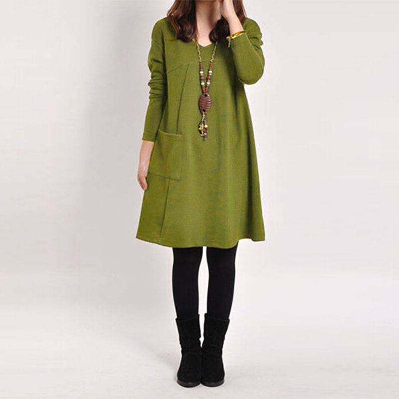 Green / S5 Color Autumn Women Long Sleeve Pockets Dress Ladies Casual Loose Solid V Neck Dresses Plus Size