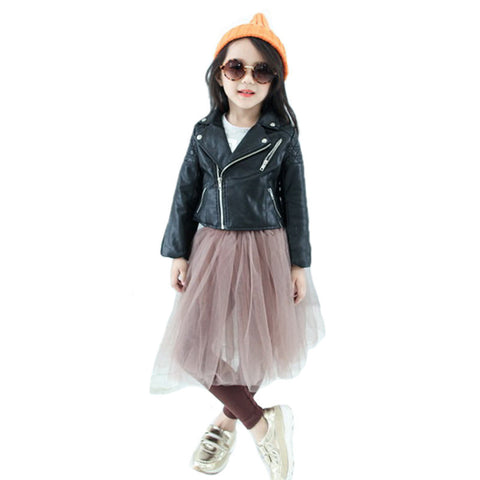 Fashion Kids Leather Jacket Girls PU Jacket Children Leather Outwear For Girl Baby Girl Jackets and Coats 2~7 T - CelebritystyleFashion.com.au online clothing shop australia