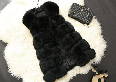 New Winter Coat Women Fur Vest With a Pocket High-Grade Faux Fur Coat Leisure Women Fox Fur Long Vest Plus Size:S-XXXXL - CelebritystyleFashion.com.au online clothing shop australia