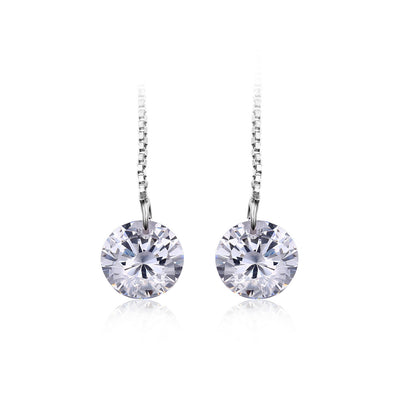 925 Sterling Silver 6.4ct AAA Cubic Zirconia Long Earrings For Women 8*8mm Round Fashion Earrings Accessories - CelebritystyleFashion.com.au online clothing shop australia