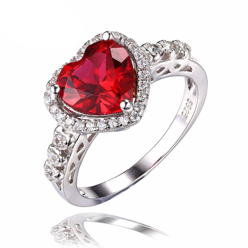 6Heart Of Ocean 2.7ct Created Red Ruby Love Forever Halo Promise Ring 925 Sterling Silver Wedding Jewelry For Women