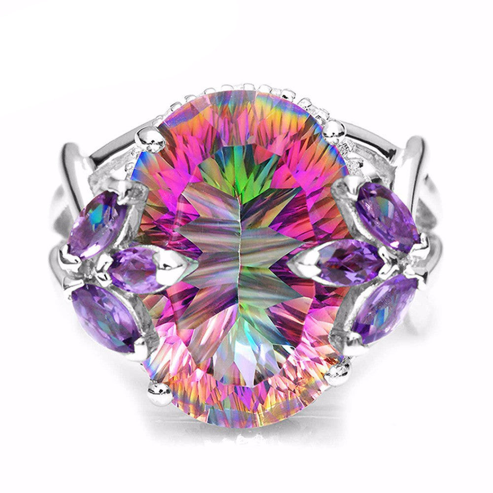 712ct Natural Amethyst Rainbow Fire Mystic Topaz Solid 925 Sterling Silver Ring Cocktail Vintage Jewelry Promotion Brand New