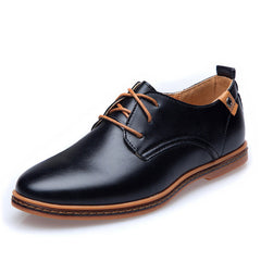 Leather Casual Men Shoes Fashion Men Flats Round Toe Comfortable Office Men Dress Shoes - CelebritystyleFashion.com.au online clothing shop australia