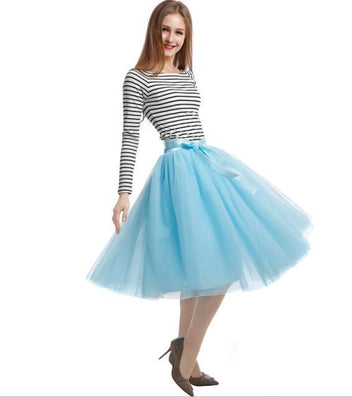 Best Quality 7 Layers Midi Tulle Skirt American Apparel Tutu Skirts Womens Petticoat Elastic Belt Autumn faldas saia jupe - CelebritystyleFashion.com.au online clothing shop australia