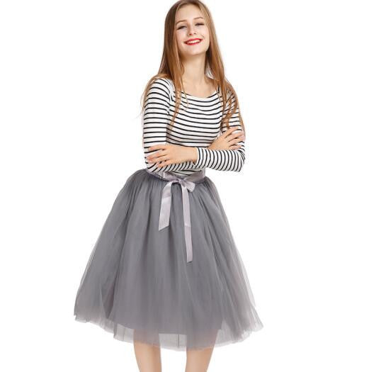 37172a93a6 Best Quality 7 Layers Midi Tulle Skirt American Apparel Tutu Skirts Womens  Petticoat Elastic Belt Autumn