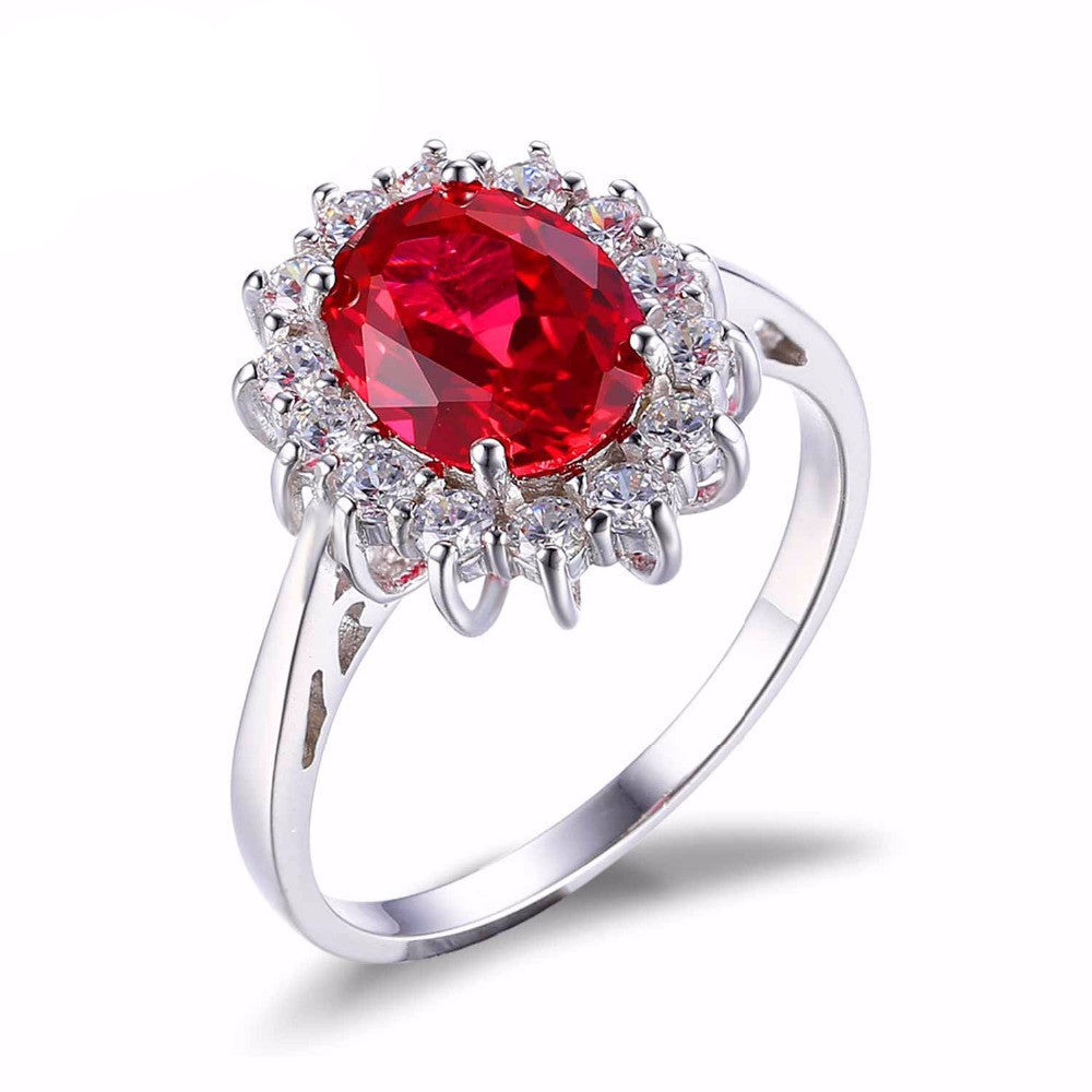 6 / RedPrincess Diana William Kate Middleton's 3.2ct Created Red Ruby Engagement 925 Sterling Silver Ring Jewelry Gift