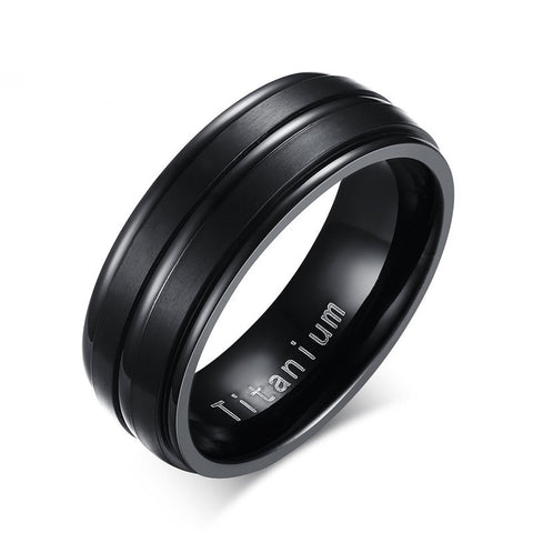 8mm Black Men Ring 100% Titanium Carbide Men's Jewelry Wedding Bands Classic Boyfriend Gift - CelebritystyleFashion.com.au online clothing shop australia