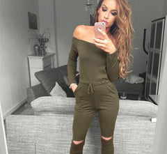 6 Color New Rompers Womens Jumpsuit Sexy Off Shoulder Long Sleeve Autumn Elegant Bodycon Bodysuit Bandage Jumpsuits - CelebritystyleFashion.com.au online clothing shop australia