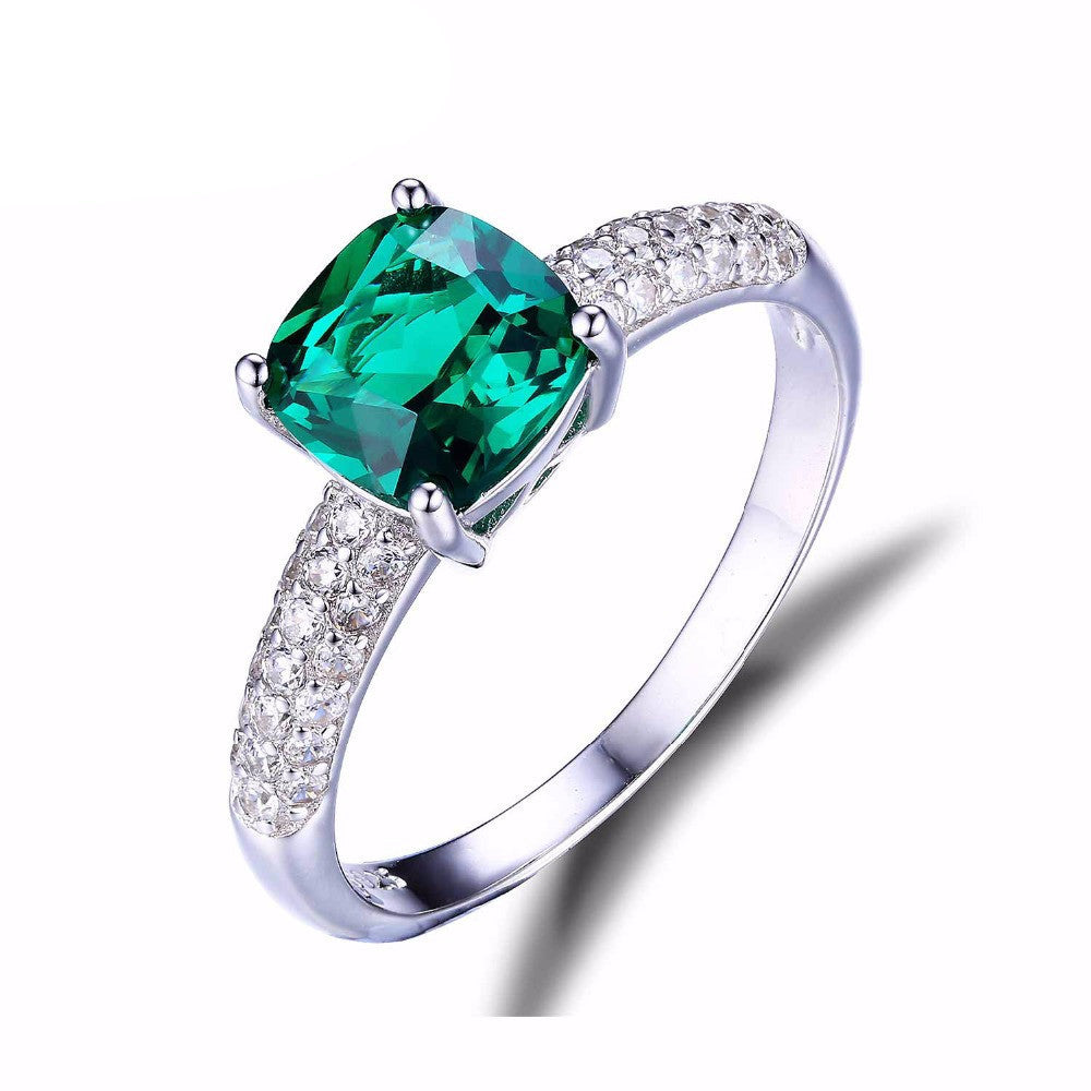 JewelryPalace Cushion 1.8ct Created Green Russian Nano Emerald Solitaire Engagement Ring 925 Sterling Silver New FashionCELEBRITYSTYLEFASHION