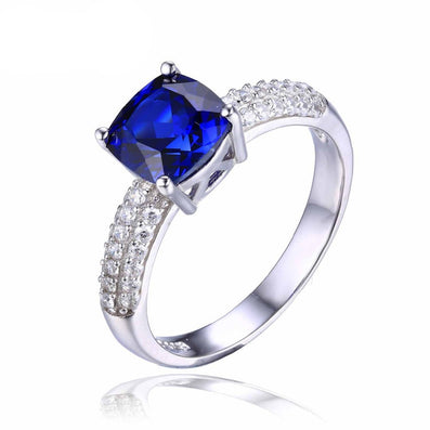 Cushion 2.6ct Created Blue Sapphire Solitaire Engagement Ring 925 Sterling Silver Jewelry New Women Ring - CelebritystyleFashion.com.au online clothing shop australia