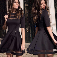 Women Summer Autumn Style Casual Black Dress Half Sleeve O-neck Vintage Party Sexy Dresses Plus Size Clothing - CelebritystyleFashion.com.au online clothing shop australia