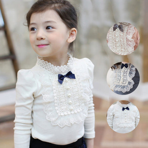 Autumn Longsleeve Cotton T-shirt Girls Top Fashion Baby Kids Clothes With Lace And Bowknot Korean Style Children Girl Tops - CelebritystyleFashion.com.au online clothing shop australia