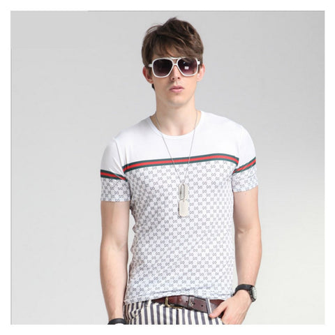 Fashion Men's T-Shirts Luxury Brand Cool Ice Silk Casual Plaid Short-sleeved T Shirt Big Name Splicing Tee Shirt Homme Luxe - CelebritystyleFashion.com.au online clothing shop australia