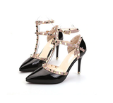 Women Pumps Ladies Sexy Pointed Toe High Heels Fashion Buckle Studded Stiletto High Heel Sandals Shoes