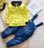 Baby Boys Clothing set Suit Overalls Gentleman long-sleeved shirt + pants 2pcs Denim jeans Kids