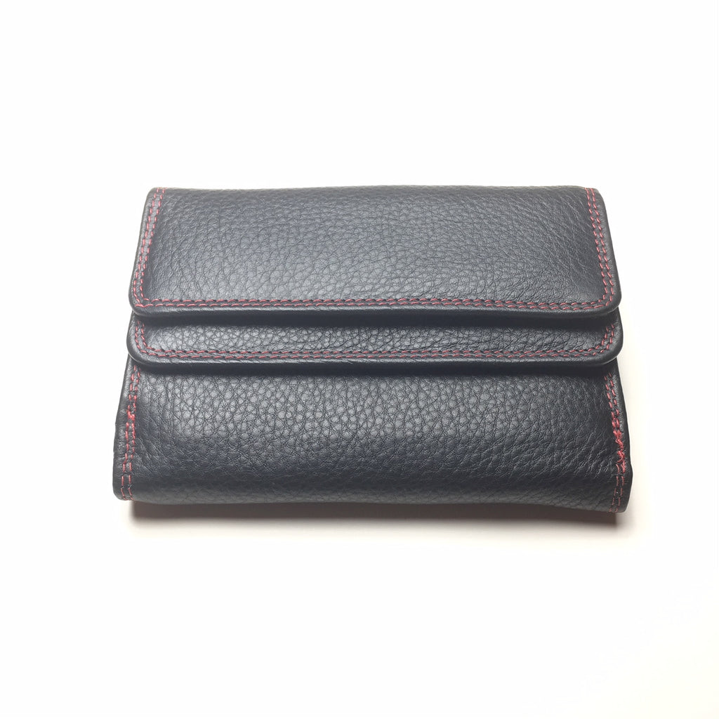 de9024c72bc0 Black Leather Wallet with 2 Pockets