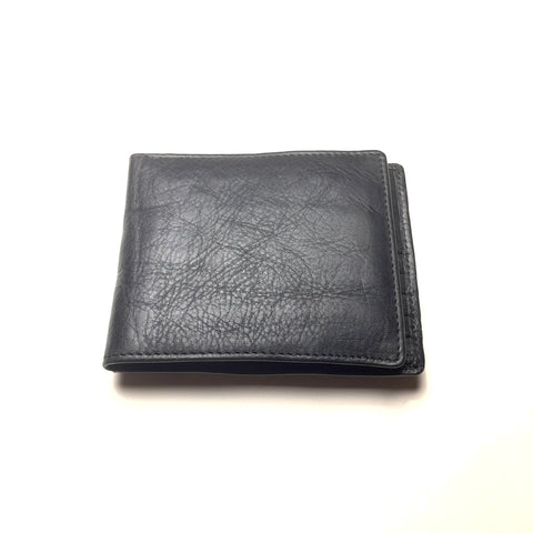 Men's Black Leather Wallet | Portefeuille en Cuir Noir pour Homme