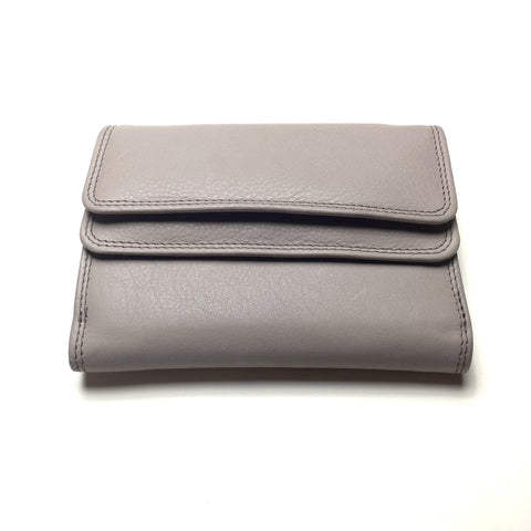 Taupe Leather Wallet with 2 Pockets | Portefeuille en Cuir Taupe avec 2 Poches