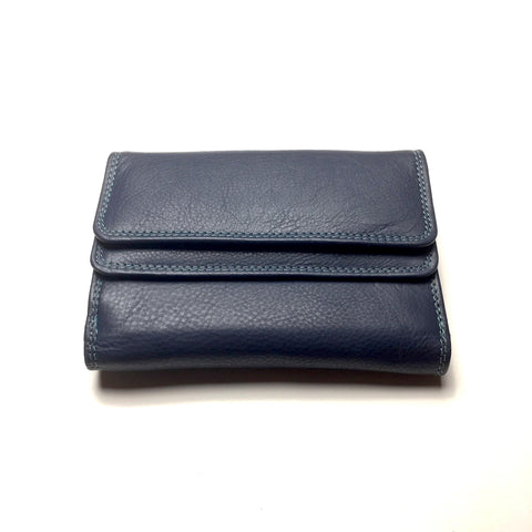 Blue Leather Wallet with 2 Pockets | Portefeuille en Cuir Bleu avec 2 Poches