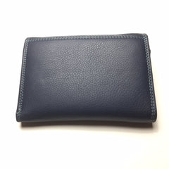 Blue Leather Wallet with 2 Pockets | Portefeuille en Cuir Bleu avec 2 Poches - Boutique C.H.I.L. ( boutiquechil.com )