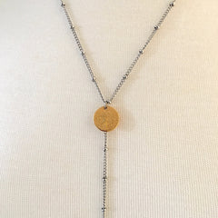 White Metal Necklace with 3 brass coins |Collier en Métal Blanc avec 3 pièces en Laiton