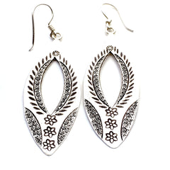 Silver Ethnic Teardrop Earrings|Boucles D'oreilles en Argent de Thaïlande