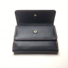 Black Leather Wallet with 2 Pockets | Portefeuille en Cuir Noir avec 2 Poches