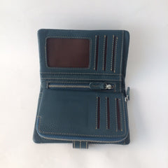 Teal Blue Leather Wallet | Portefeuille en Cuir Bleu - Boutique C.H.I.L. ( boutiquechil.com )