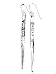 Silver Long Stick Earrings (2 lengths)| Boucles d'Oreilles Bâtonnet Longue en Argent