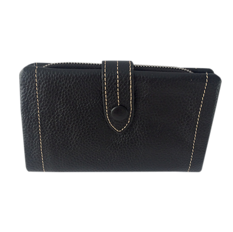 Black Leather Wallet | Portefeuille en Cuir Noir
