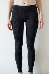 Leggings Black Patterned Cotton  |  Legging Noir avec Motif