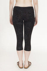 Capri Black Patterned Cotton Leggings | Capri Legging Noir avec Motif