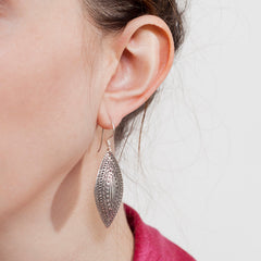 Silver Stamped Oval Earrings|Boucles D'oreilles Argent Pendantes Ovale