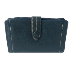 Teal Blue Leather Wallet | Portefeuille en Cuir Bleu