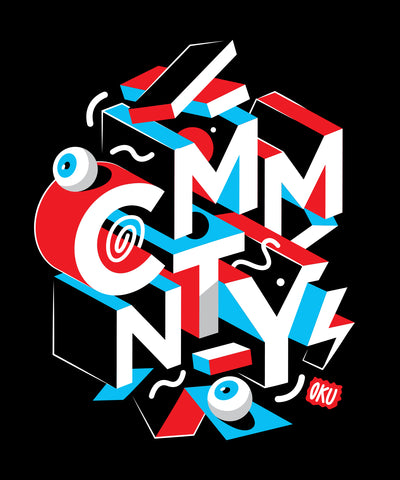 CMMNTY X David Oku Block Crew' T-Shirt Black