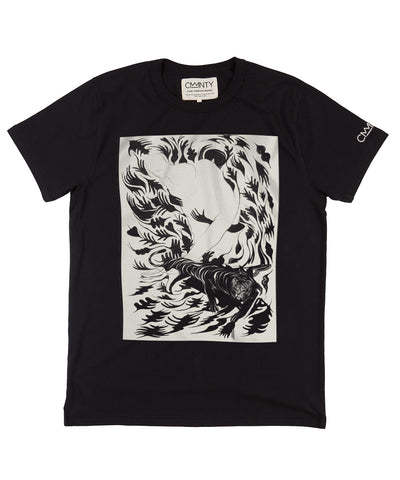 Will Barras 'Tiger Hand' T-shirt Black