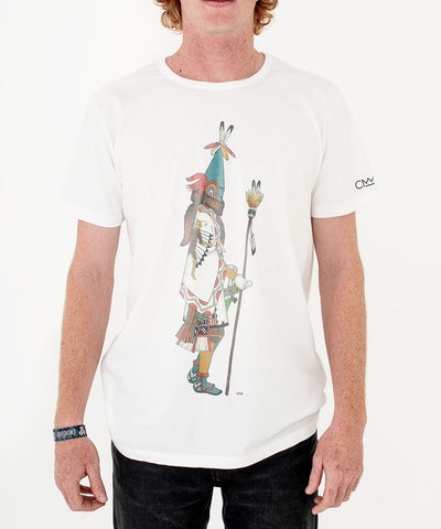 Heyoka 'Sun Kachina Elongated Mask' T-shirt White