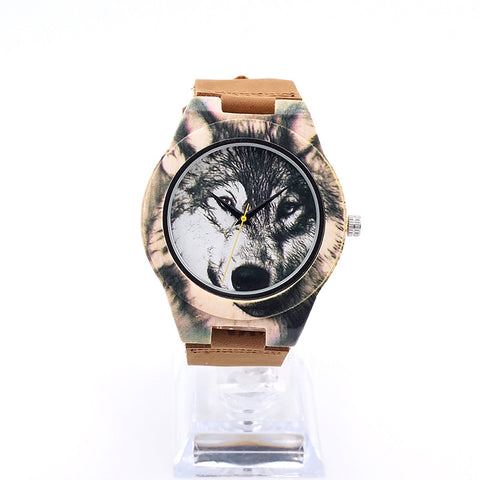 Bamboo Quartz Mens Wristwatch Wolf Leather Band Watch - Indo Wolf