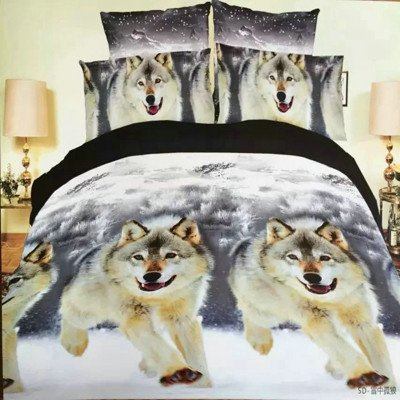 Bedding - 4Pcs Duvet Style Queen Size Bedding With Wolf Prints