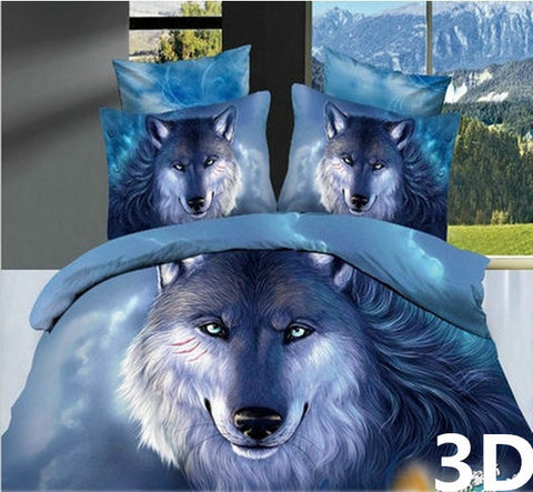 Bedding - High Quality 3D Silent Wolf 4PCS Bedding Set King